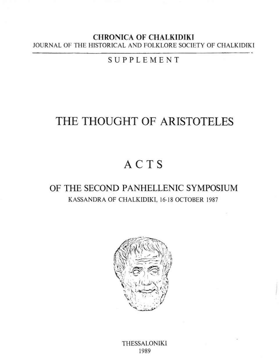 THOUGHT ΟΡ ARISTOTELES ACTS ΟΡ ΤΗΕ SECOND PANHELLENIC
