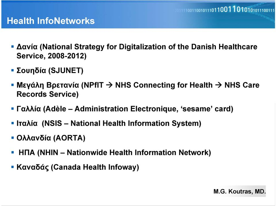 Service) Γαλλία (Adèle Administration Electronique, sesame card) Ιταλία (NSIS National Health