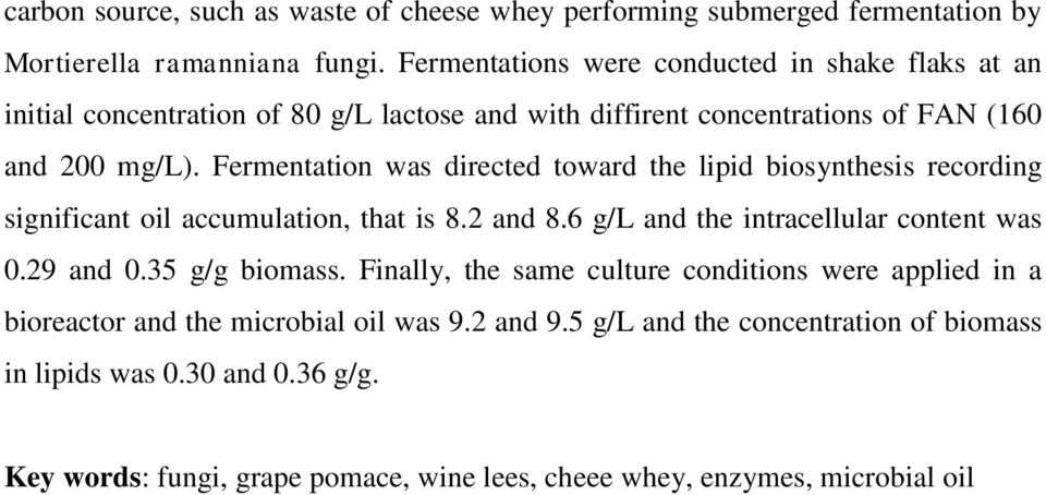 Fermentation was directed toward the lipid biosynthesis recording significant oil accumulation, that is 8.2 and 8.6 g/l and the intracellular content was 0.29 and 0.