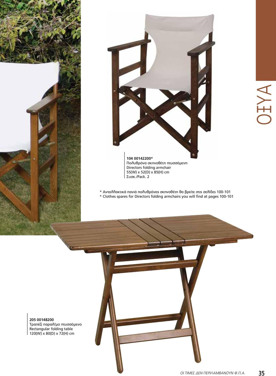 spares for Directors folding armchairs you will find at pages 100-101 205 00148200 Τραπέζι