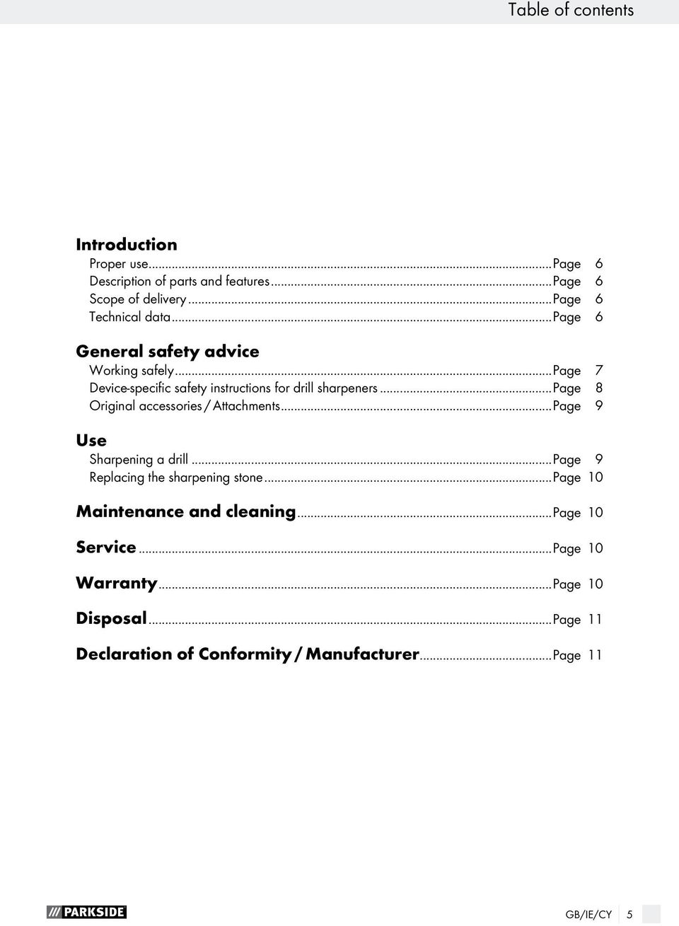 ..page 7 Device-specific safety instructions for drill sharpeners...page 8 Original accessories / Attachments.