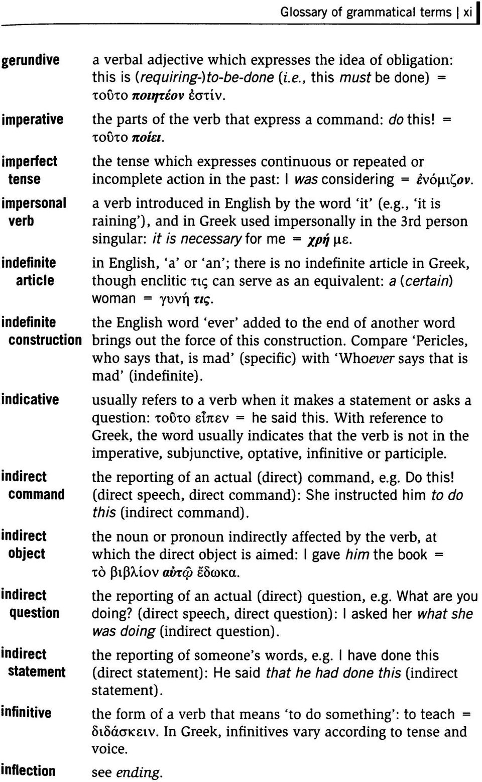 imperfect tense impersonal verb indefinite article the tense which expresses continuous or repeated or incomplete action in the past: I was considering = ενόμιζον.