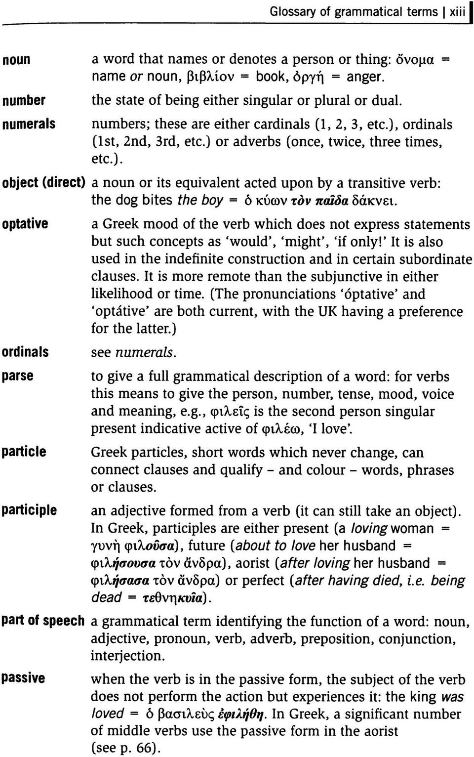optative ordinals parse particle participle a Greek mood of the verb which does not express statements but such concepts as 'would', 'might', 'if only!