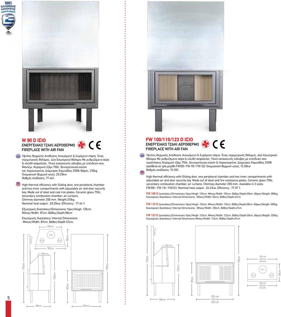 25kw Βαθμός απόδοσης: 77.44% High thermal efficiency with Sliding door, one peripheral chamber and two inner compartments with adjustable air and door security key.