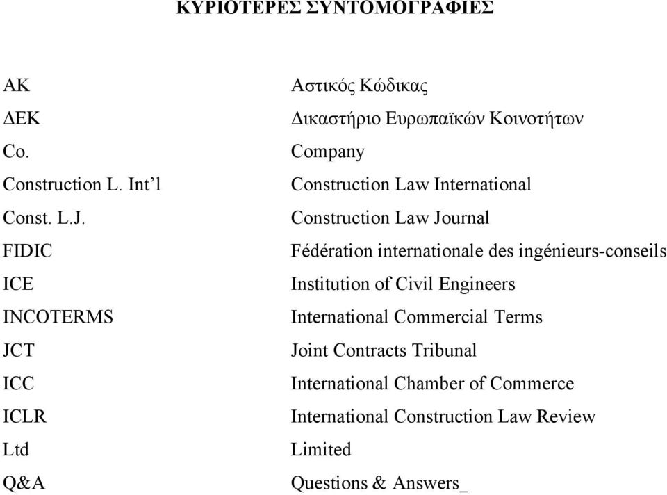 International Construction Law Journal Fédération internationale des ingénieurs-conseils Institution of Civil