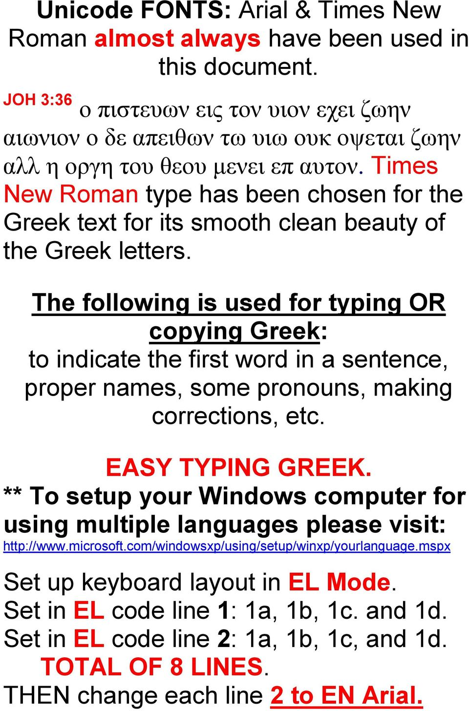 Times New Roman type has been chosen for the Greek text for its smooth clean beauty of the Greek letters.