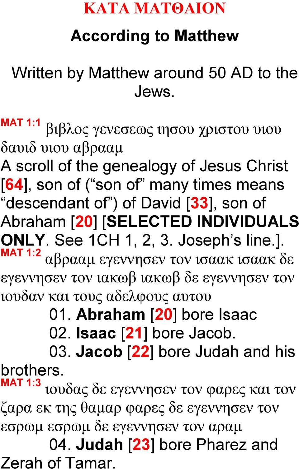 Abraham [20] [SELECTED INDIVIDUALS ONLY. See 1CH 1, 2, 3. Joseph s line.]. MAT 1:2 αβρααμ εγεννησεν τον ισαακ ισαακ δε εγεννησεν τον ιακωβ ιακωβ δε εγεννησεν τον ιουδαν και τους αδελφους αυτου 01.