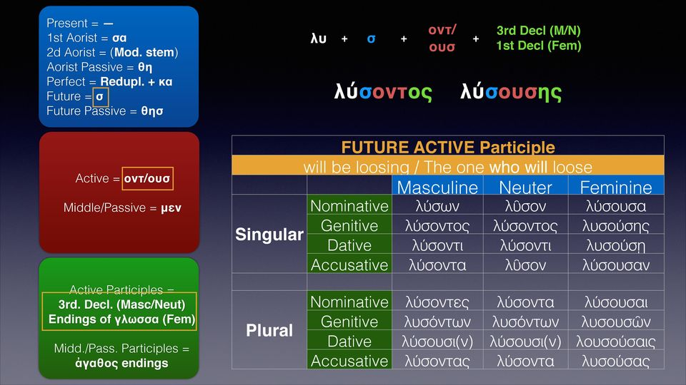Participles = ἀγαθος endings 3rd Decl (M/N) 1st Decl (Fem) λύσουσης FUTURE ACTIVE Participle will be loosing / The one who will loose Active = οντ/ουσ