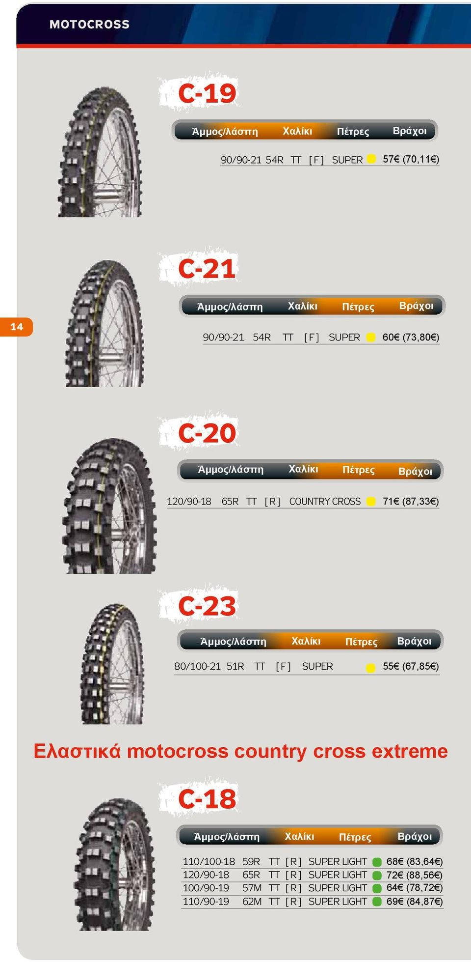 motocross country cross extreme C-18 110/100-18 59R TT [ R ] SUPER LIGHT 120/90-18 65R TT [ R ] SUPER LIGHT