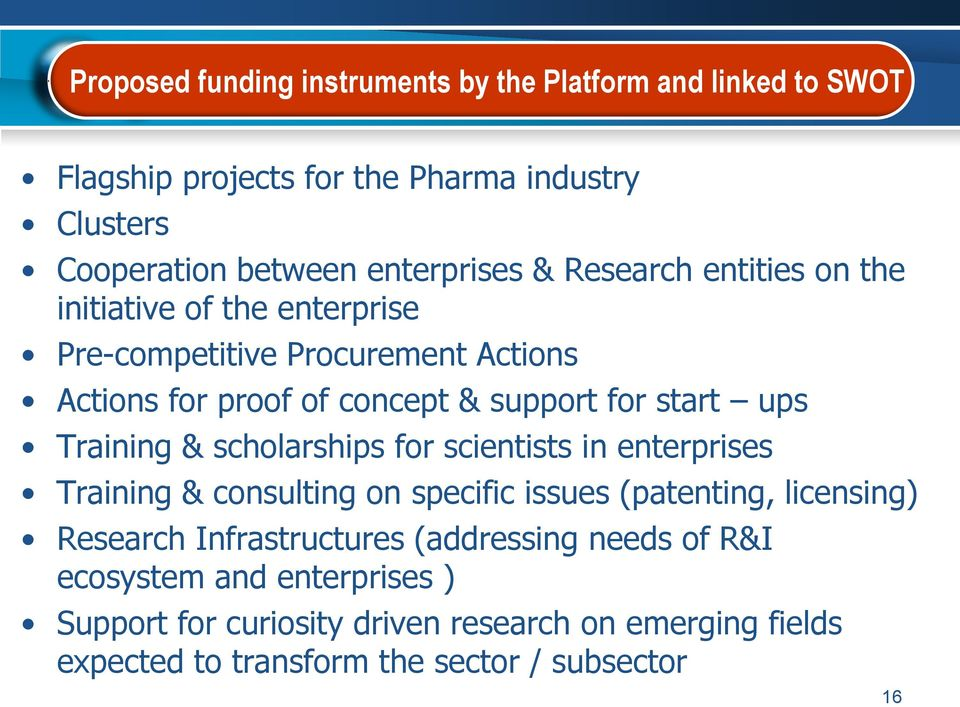 Training & scholarships for scientists in enterprises Training & consulting on specific issues (patenting, licensing) Research Infrastructures