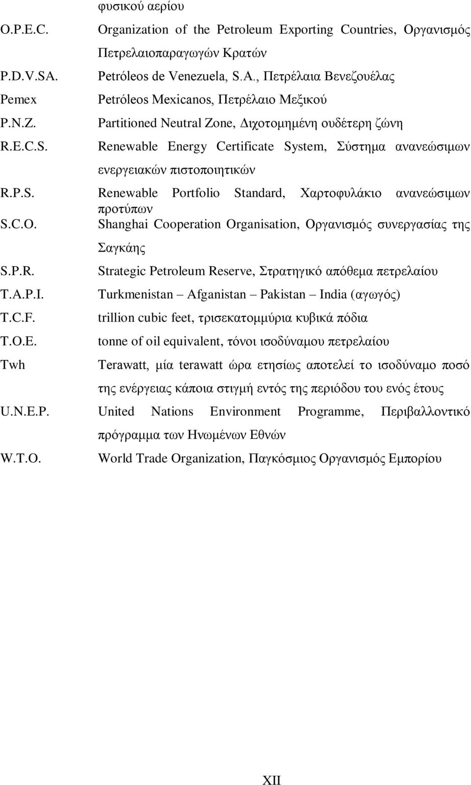 C.O. Shanghai Cooperation Organisation, Οργανισμός συνεργασίας της Σαγκάης S.P.R. Strategic Petroleum Reserve, Στρατηγικό απόθεμα πετρελαίου T.A.P.I. Turkmenistan Afganistan Pakistan India (αγωγός) T.
