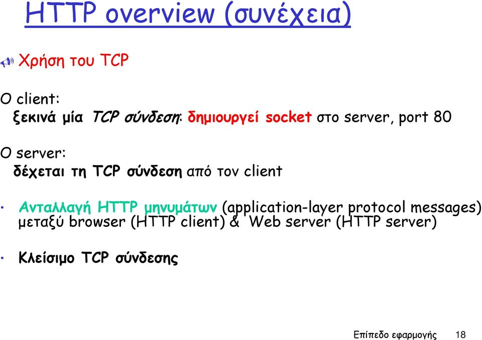 client Ανταλλαγή HTTP μηνυμάτων (application-layer protocol messages) μεταξύ