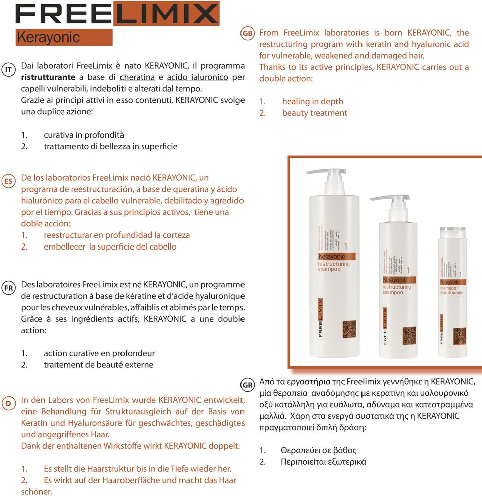 trattamento di bellezza in superficie From FreeLimix laboratories is born KERAYONIC, the restructuring program with keratin and hyaluronic acid for vulnerable, weakened and damaged hair.