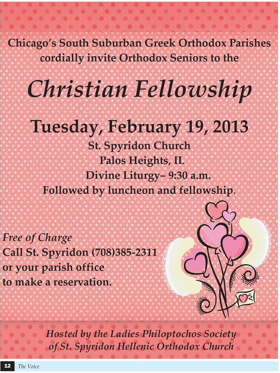 Followed by luncheon and fellowship. Free of Charge Call St.