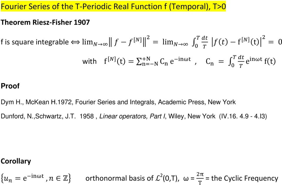 , McKean Η.1972, Fourier Series and Integrals, Academic Press, New York Dunford, N.,Schwartz, J.T.
