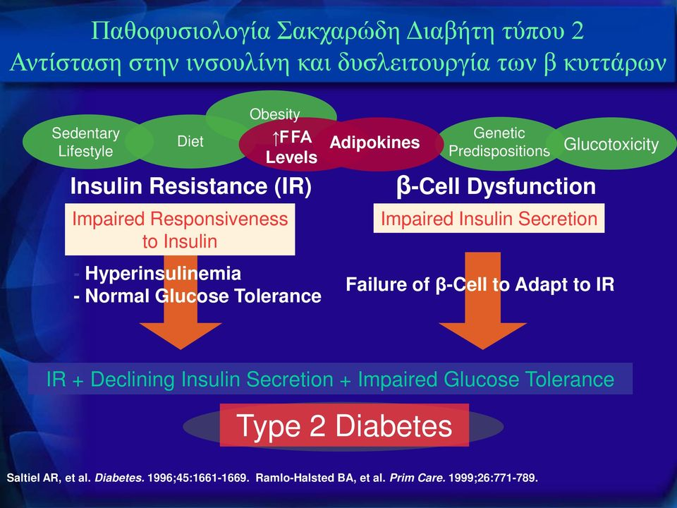 Predispositions β-cell Dysfunction Impaired Insulin Secretion Glucotoxicity Failure of β-cell to Adapt to IR IR + Declining Insulin