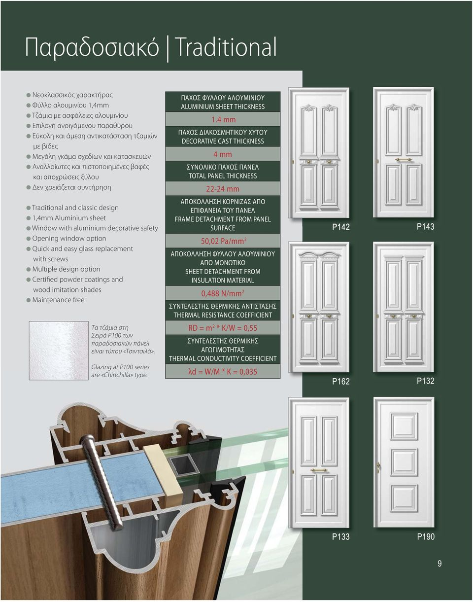 Opening window option Quick and easy glass replacement with screws Multiple design option Certified powder coatings and wood imitation shades Maintenance free Τα τζάμια στη Σειρά P100 των