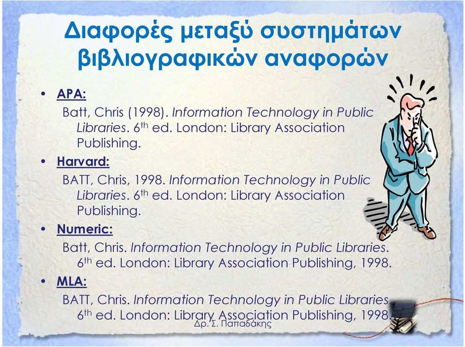London: Library Association Publishing. Numeric: Batt, Chris. Information Technology in Public Libraries. 6 th ed.