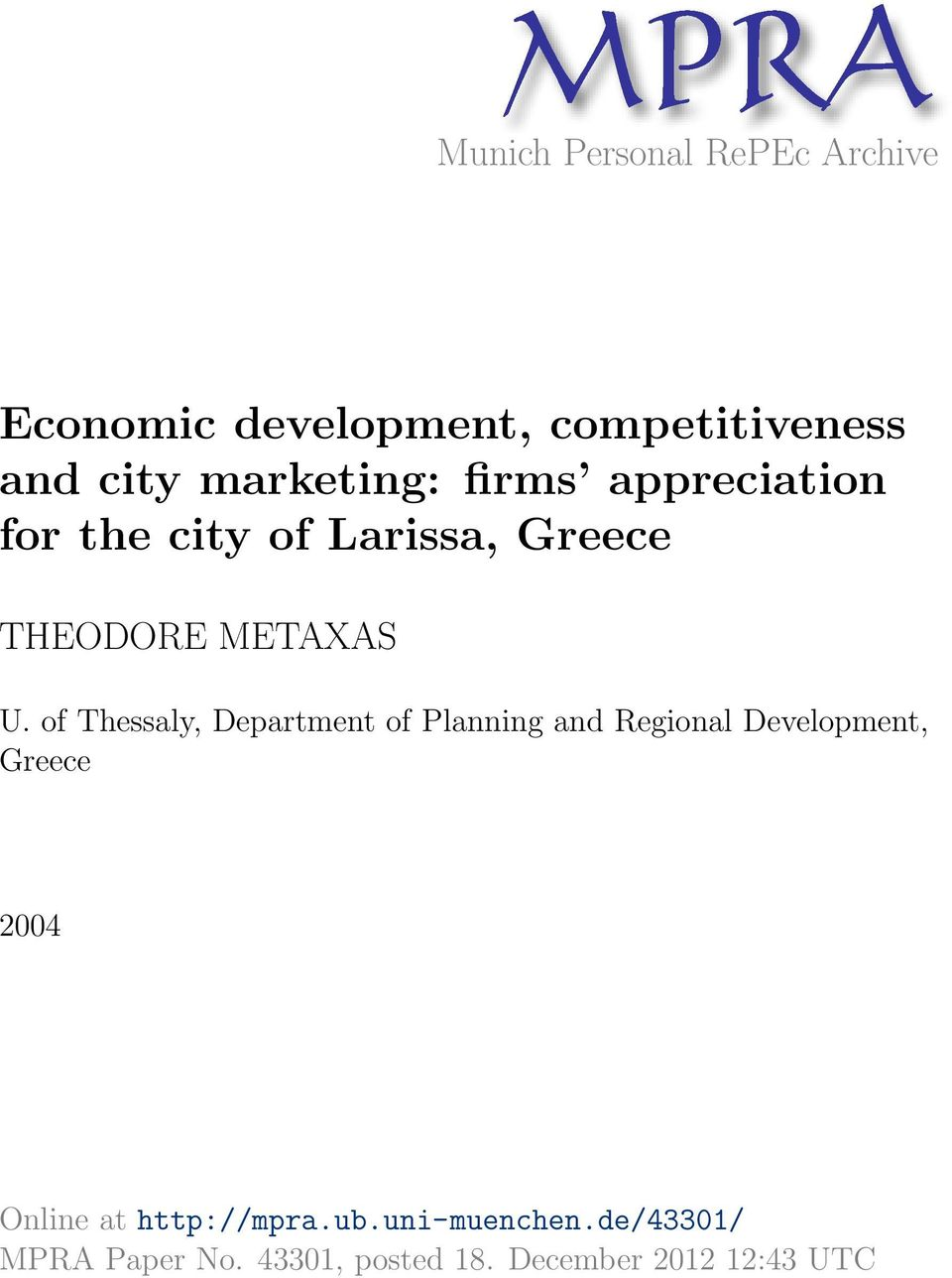 of Thessaly, Department of Planning and Regional Development, Greece 2004 Online at