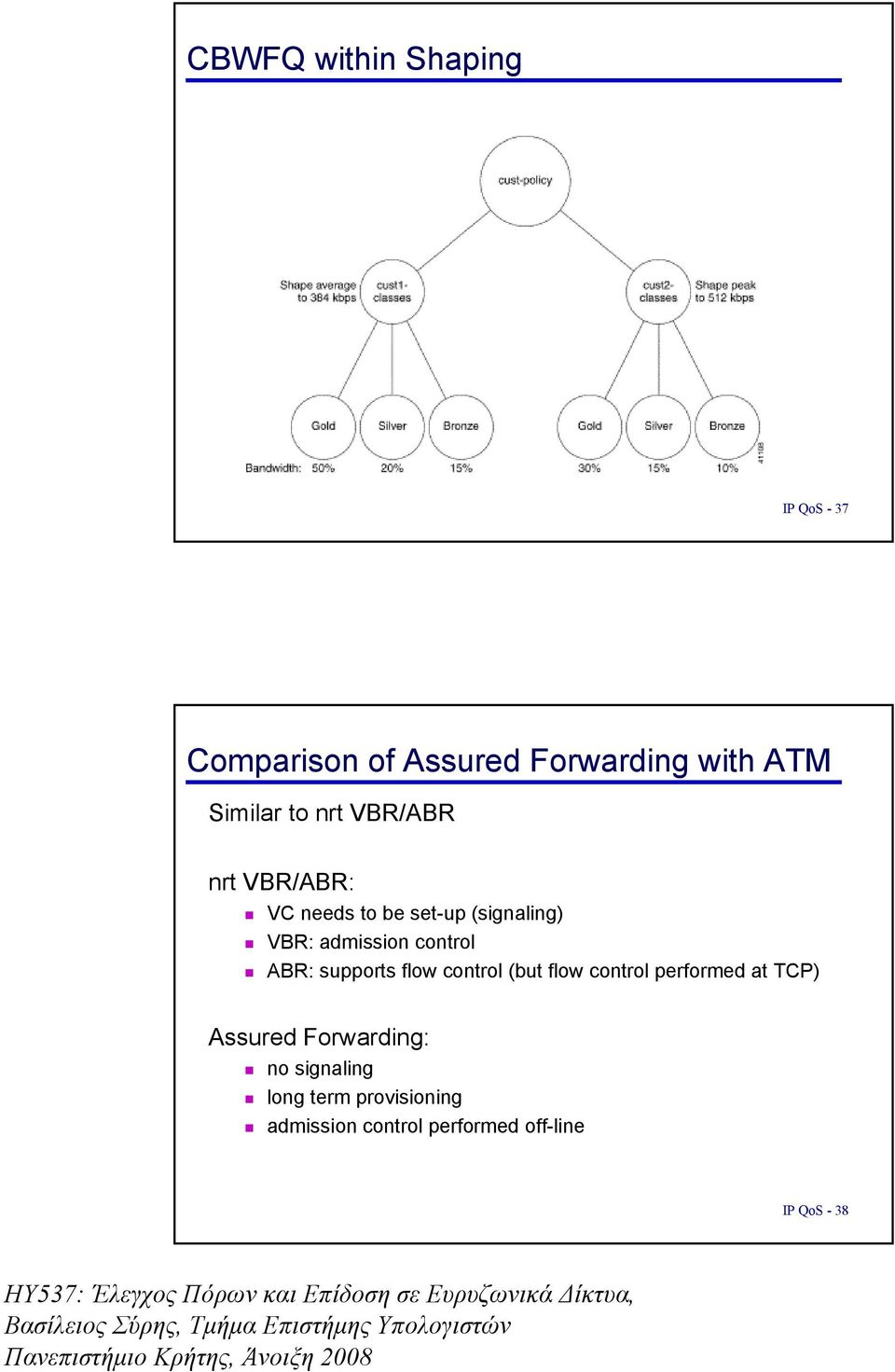 control ABR: supports flow control (but flow control performed at TCP) Assured