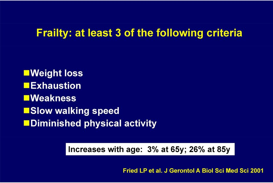 physical activity Increases with age: 3% at 65y; 26%