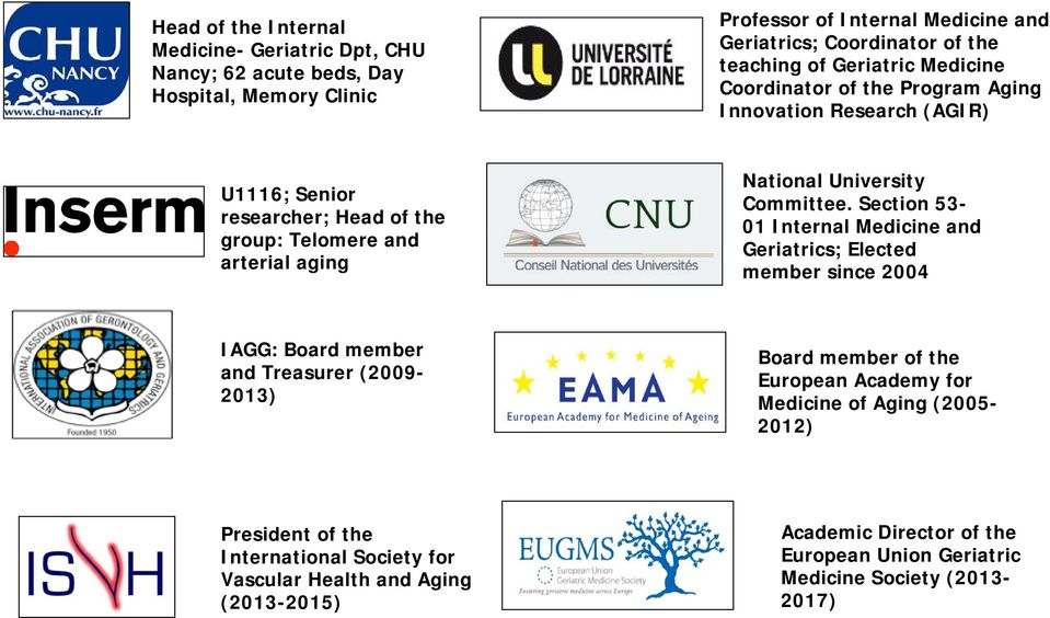 Section 53-01 Internal Medicine and Geriatrics; Elected member since 2004 IAGG: Board member and Treasurer (2009-2013) Board member of the European Academy for Medicine of Aging
