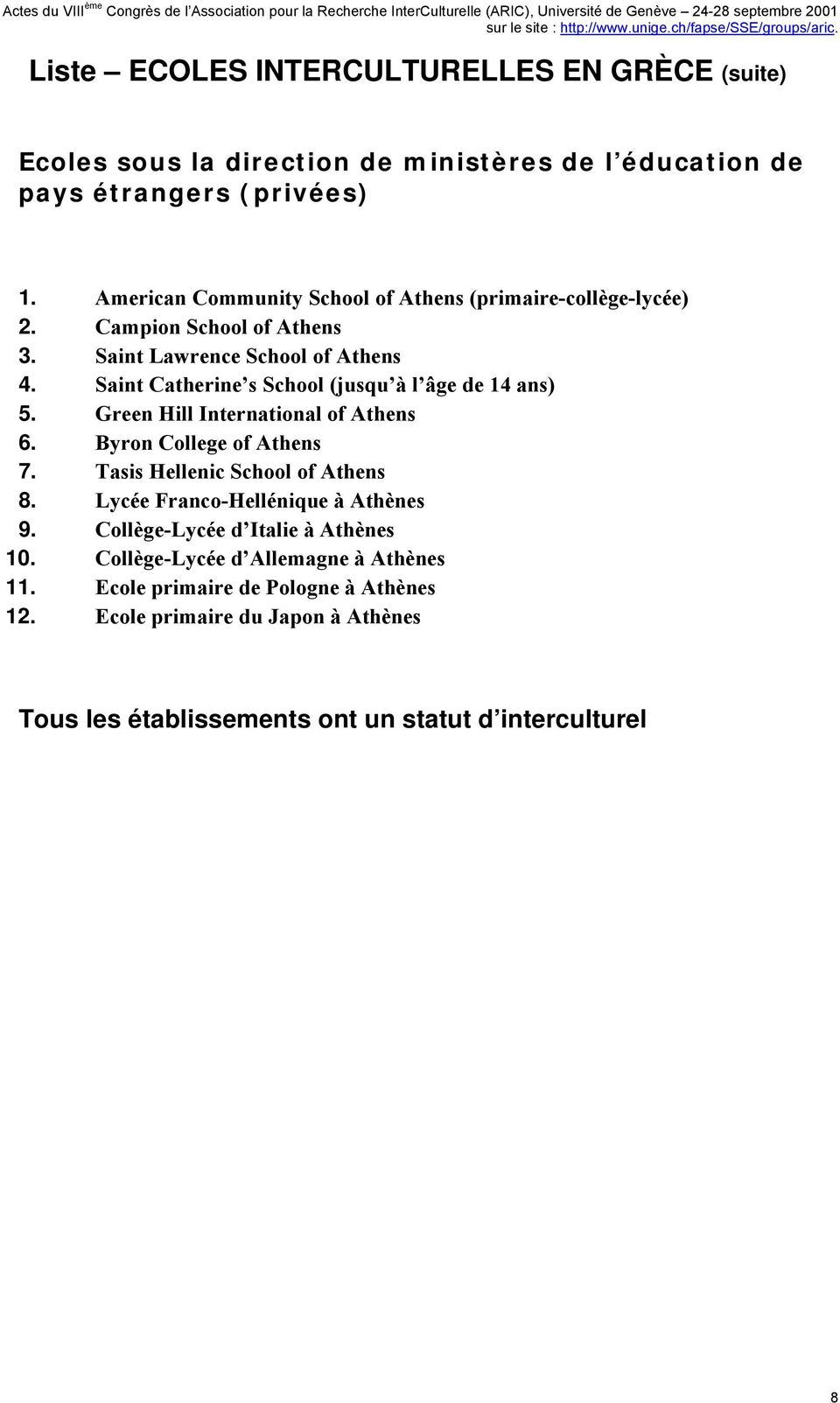 Saint Catherine s School (jusqu à l âge de 14 ans) 5. Green Hill International of Athens 6. Byron College of Athens 7. Tasis Hellenic School of Athens 8.