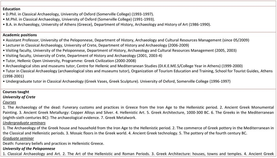 University of Crete, Department of History and Archaeology (2006-2009) Visiting faculty, University of the Peloponnese, Department of History, Archaeology and Cultural Resources Management (2005,
