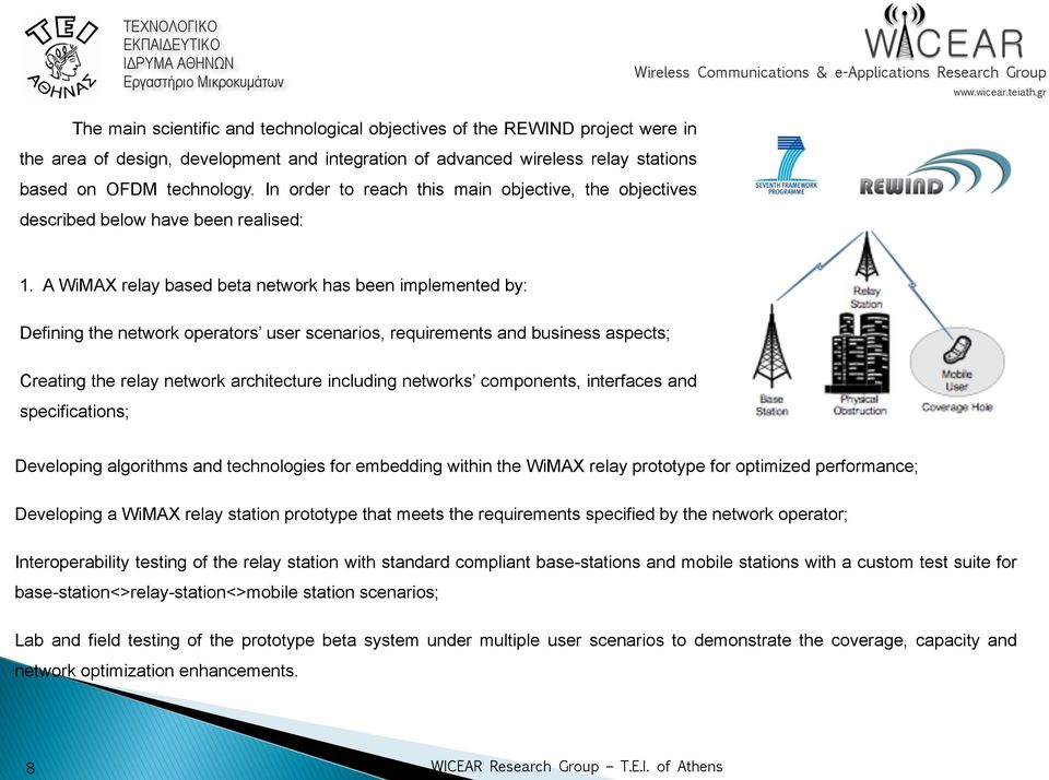 A WiMAX relay based beta network has been implemented by: Defining the network operators user scenarios, requirements and business aspects; Creating the relay network architecture including networks