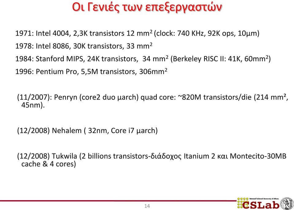 transistors, 306mm 2 (11/2007): Penryn (core2 duo μarch) quad core: ~820M transistors/die (214 mm², 45nm).