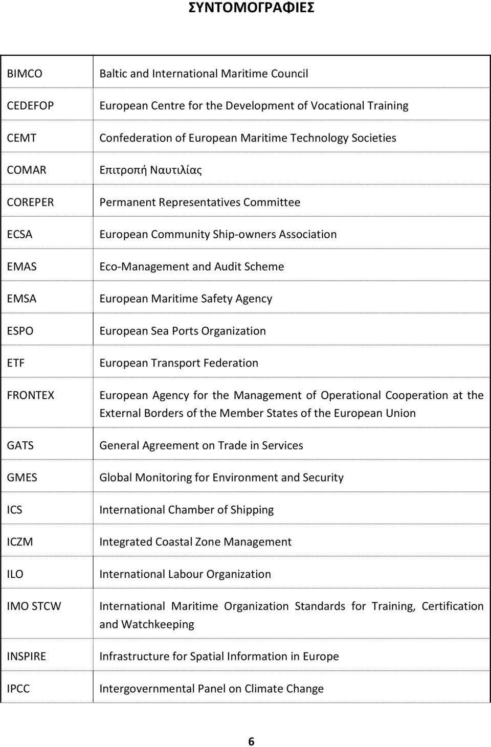 Eco-Management and Audit Scheme European Maritime Safety Agency European Sea Ports Organization European Transport Federation European Agency for the Management of Operational Cooperation at the