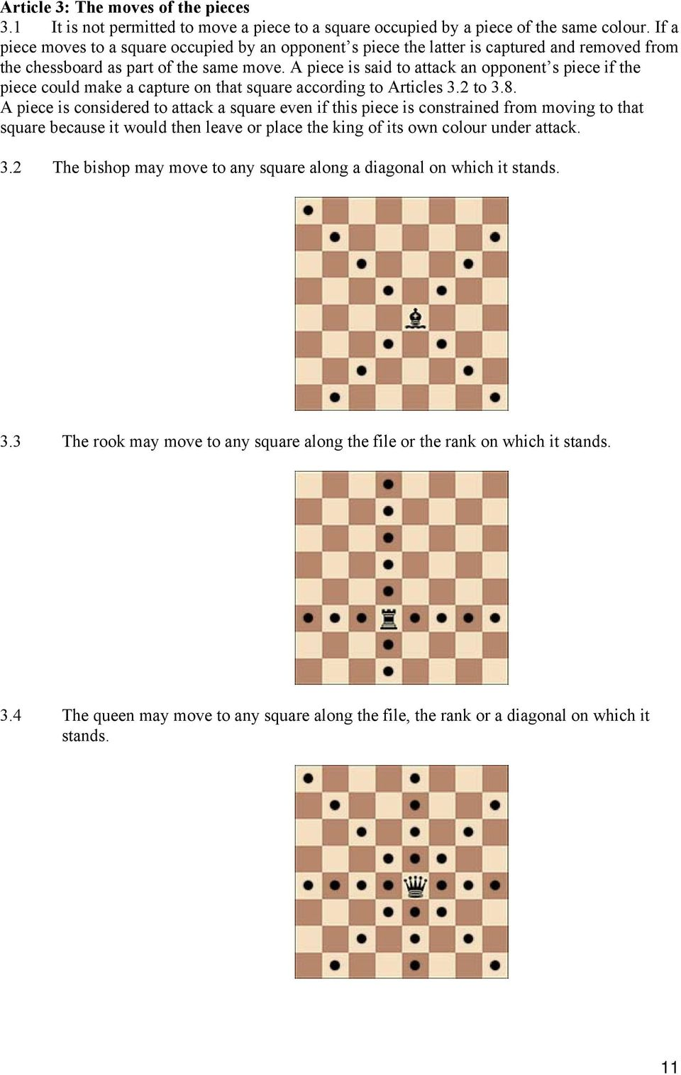 A piece is said to attack an opponent s piece if the piece could make a capture on that square according to Articles 3.2 to 3.8.