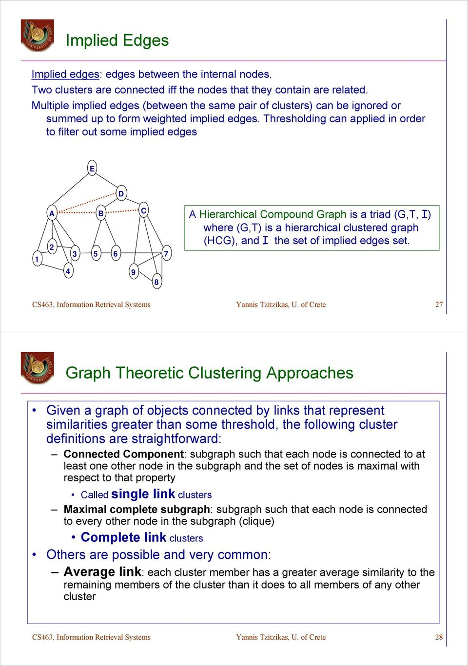 Thresholding can applied in order to filter out some implied edges E D 1 A B C 2 3 5 6 7 4 9 8 A Hierarchical Compound Graph is a triad (G,T, I) where (G,T) is a hierarchical clustered graph (HCG),