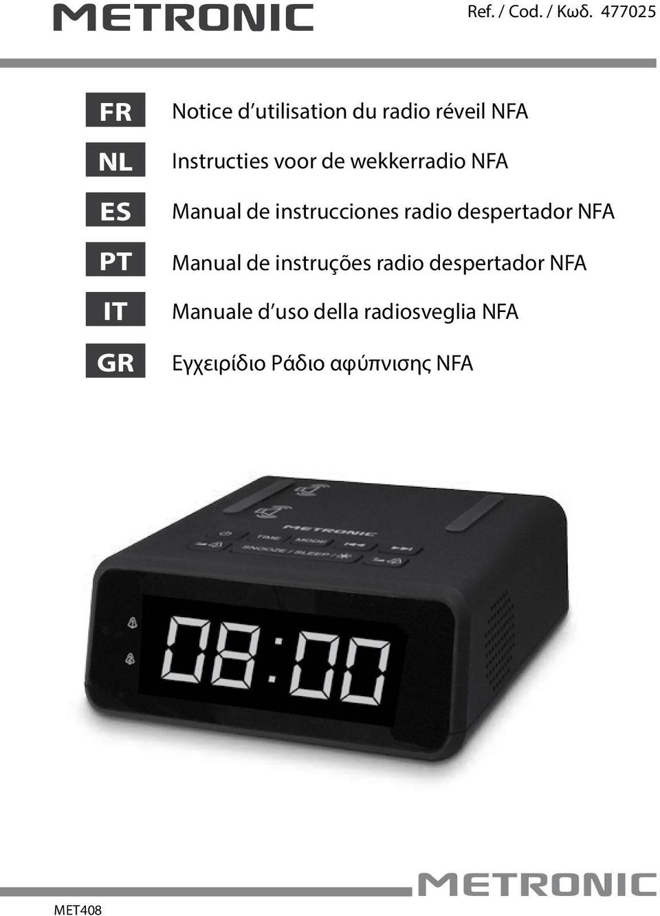 Instructies voor de wekkerradio NFA Manual de instrucciones radio
