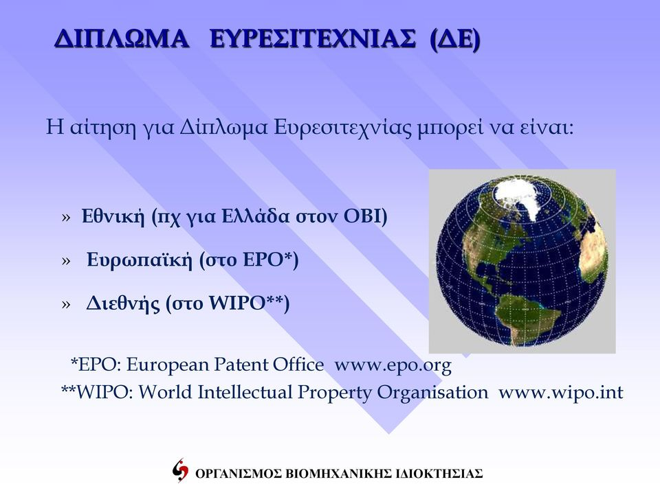(στο EPO*)» Διεθνής (στο WIPO**) *EPO: European Patent Office