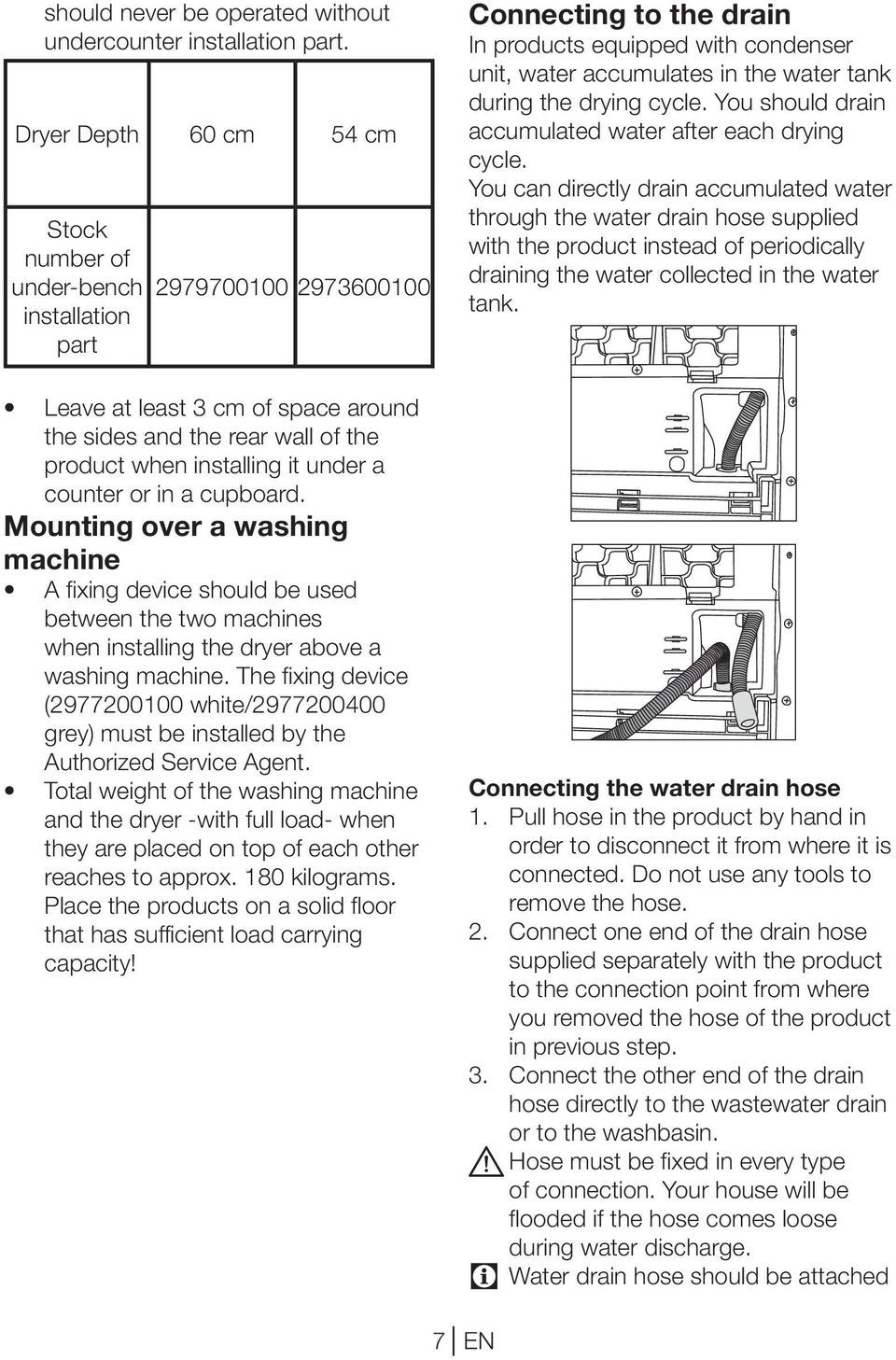 counter or in a cupboard. Mounting over a washing machine A fixing device should be used between the two machines when installing the dryer above a washing machine.