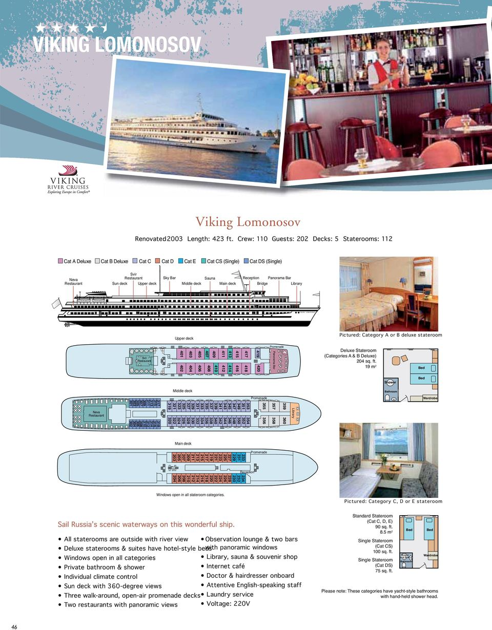 Bar Bridge Library VIKING LOMONOSOV Upper deck Pictured: Category A or B deluxe stateroom Svir 401 402 40 404 405 406 407 409 410 408 411 412 41 414 415 416 417 418 419 420 Promenade Panorama Bar
