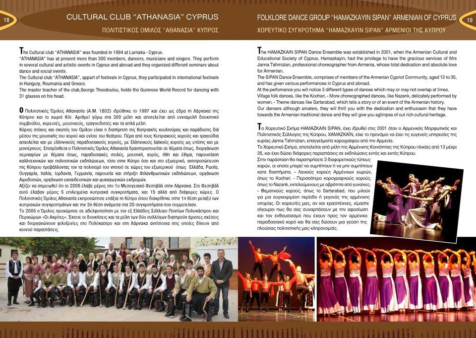 They perform in several cultural and artistic events in Cyprus and abroad and they organized different seminars about dance and social events.