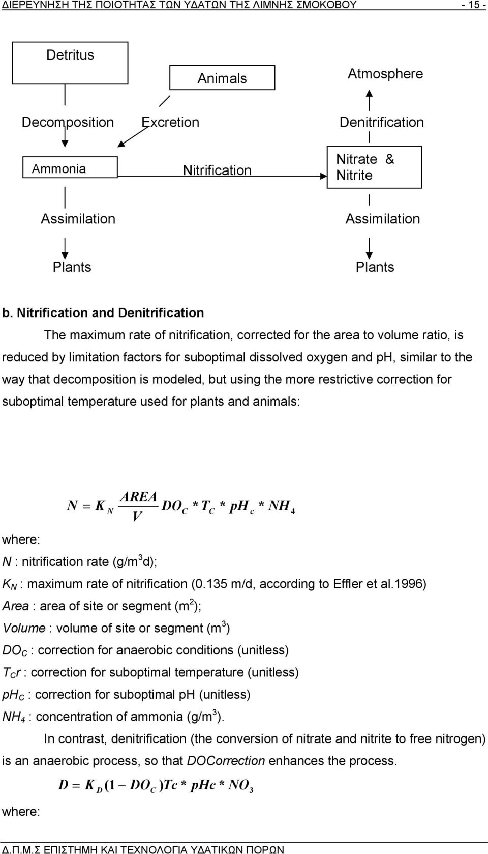 Nitrification and Denitrification The maximum rate of nitrification, corrected for the area to volume ratio, is reduced by limitation factors for suboptimal dissolved oxygen and ph, similar to the