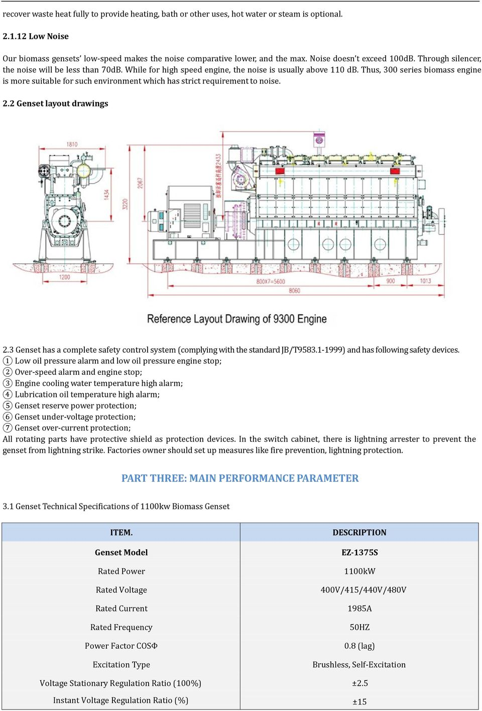 Thus, 300 series biomass engine is more suitable for such environment which has strict requirement to noise. 2.2 Genset layout drawings 2.