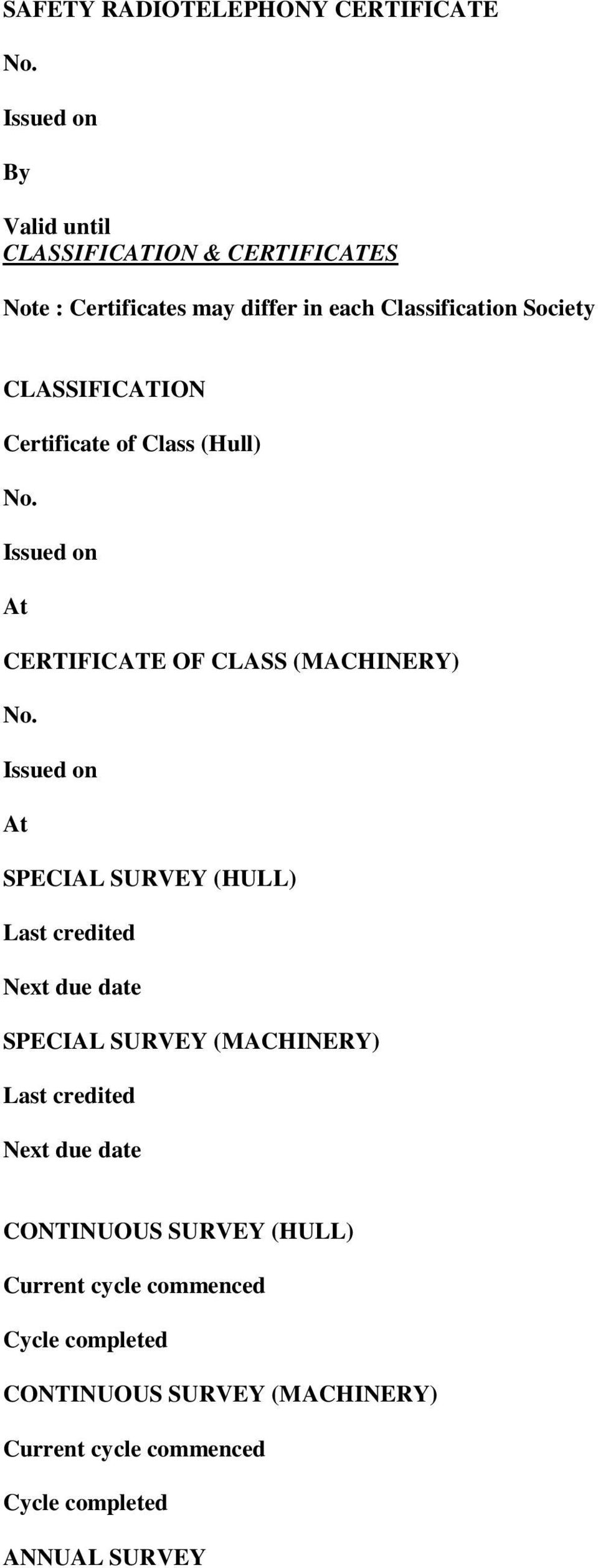 CLASSIFICATION Certificate of Class (Hull) No. Issued on At CERTIFICATE OF CLASS (MACHINERY) No.
