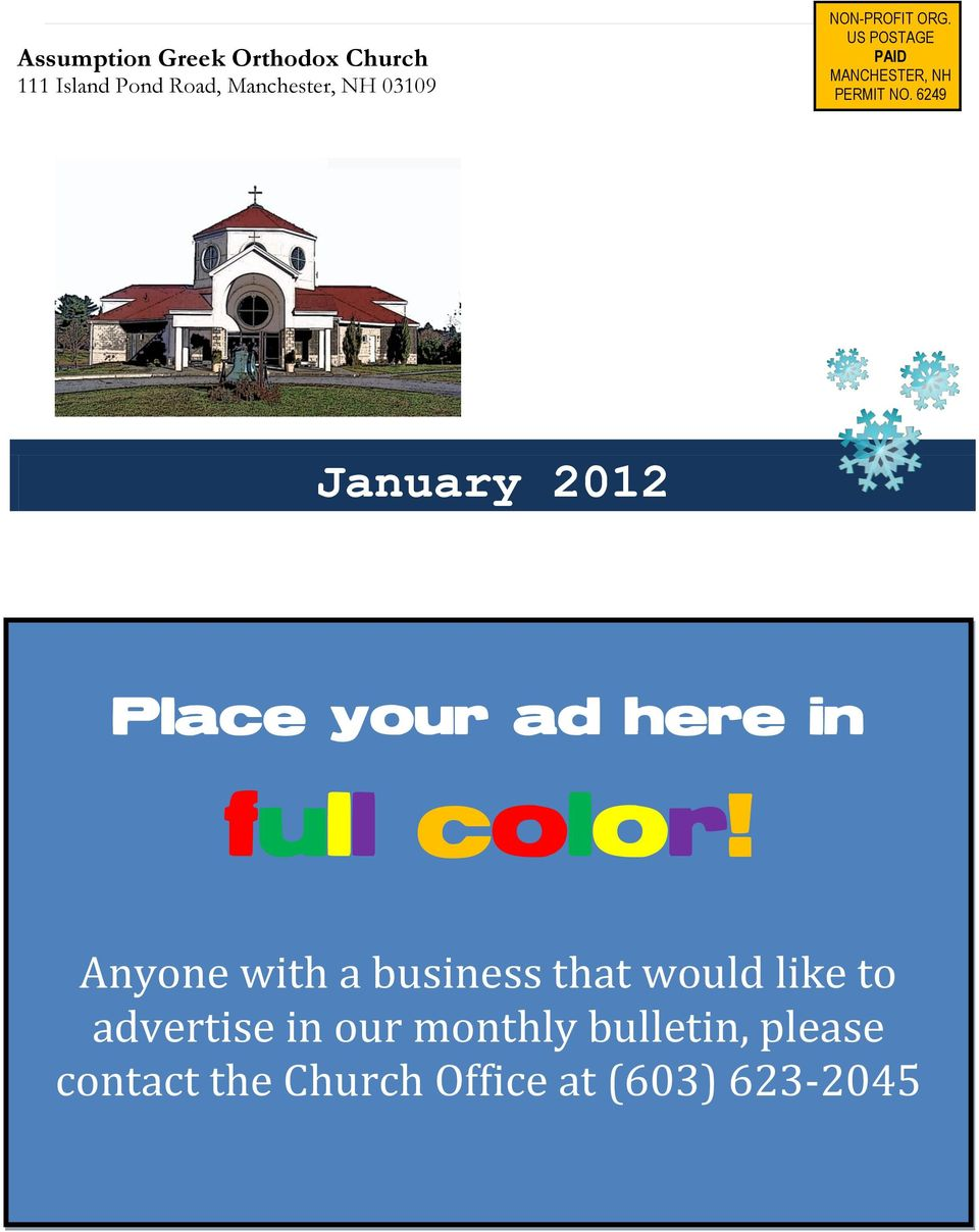6249 January 2012 Place your ad here in full color!