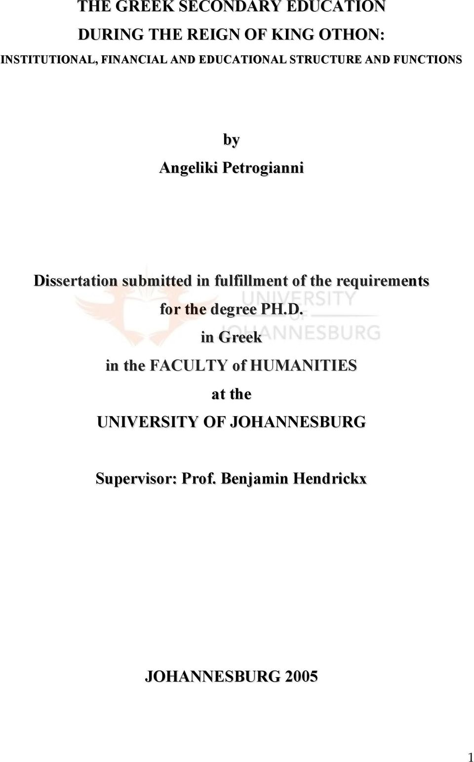 fulfillment of the requirements for the degree PH.D.