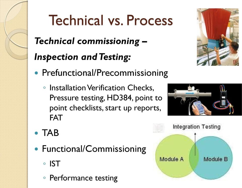 Pressure testing, HD384, point to point checklists, start up