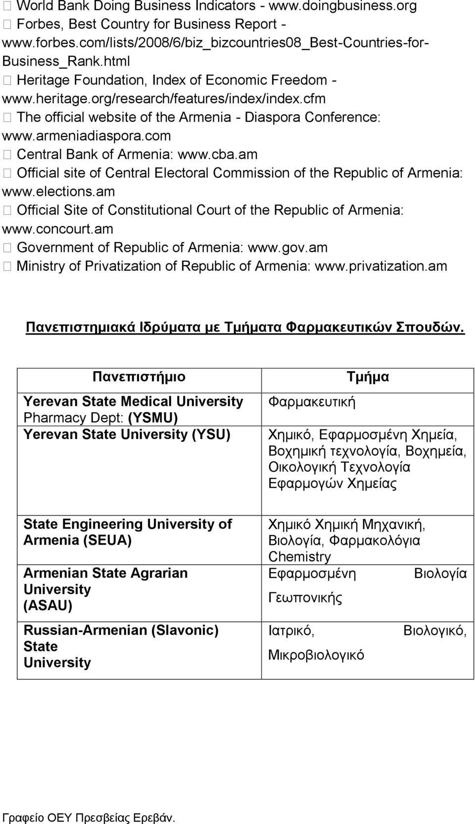 com Central Bank of Armenia: www.cba.am Official site of Central Electoral Commission of the Republic of Armenia: www.elections.