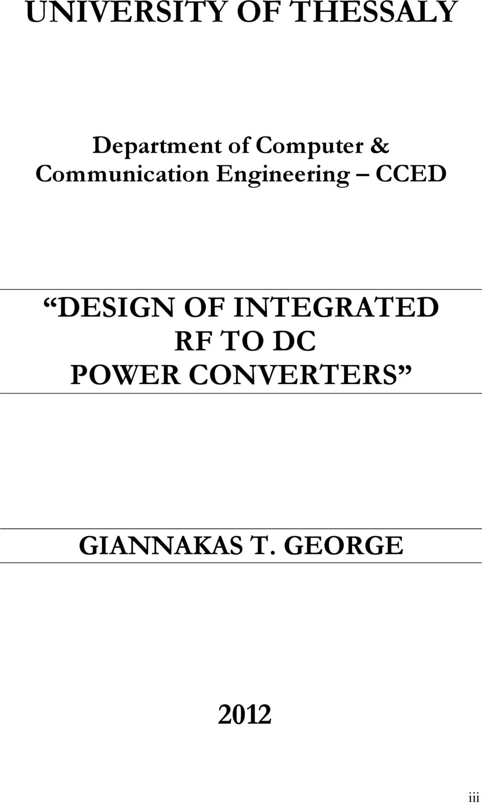 CCED DESIGN OF INTEGRATED RF TO DC