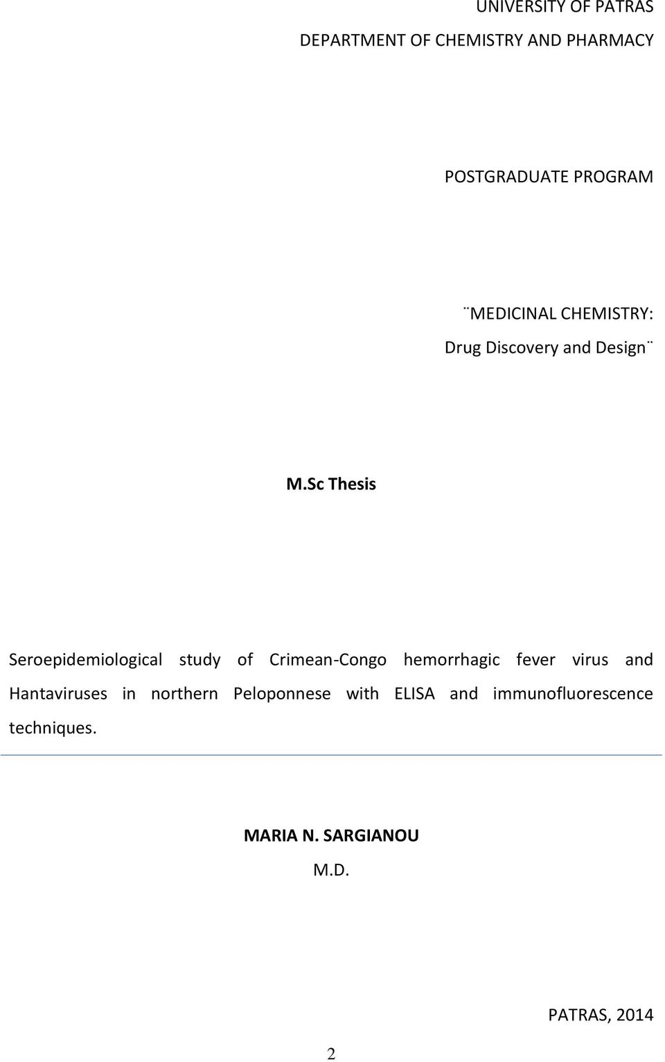 Sc Thesis Seroepidemiological study of Crimean-Congo hemorrhagic fever virus and
