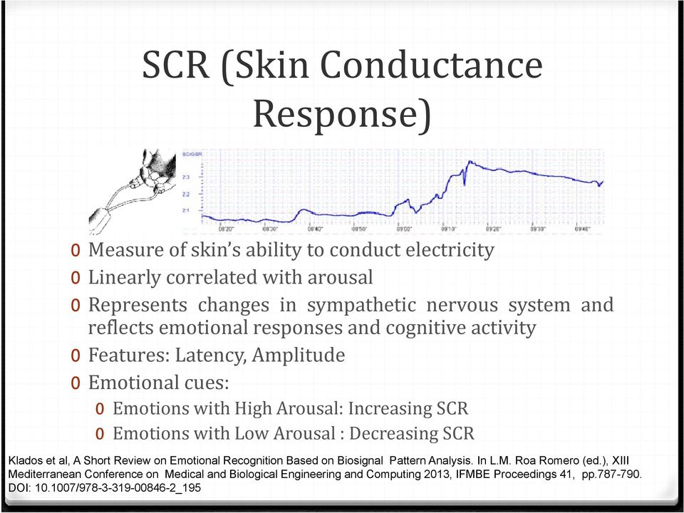Arousal: Increasing SCR 0 Emotions with Low Arousal : Decreasing SCR Klados et al, A Short Review on Emotional Recognition Based on Biosignal Pattern Analysis.