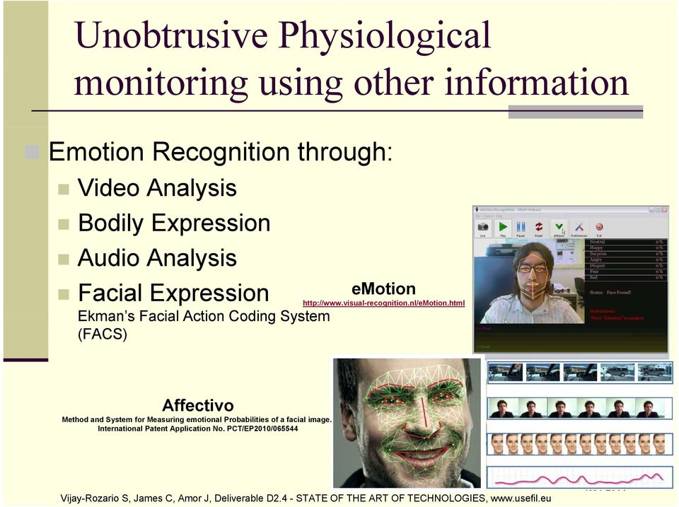 nl/emotion.html Affectivo Method and System for Measuring emotional Probabilities of a facial image.