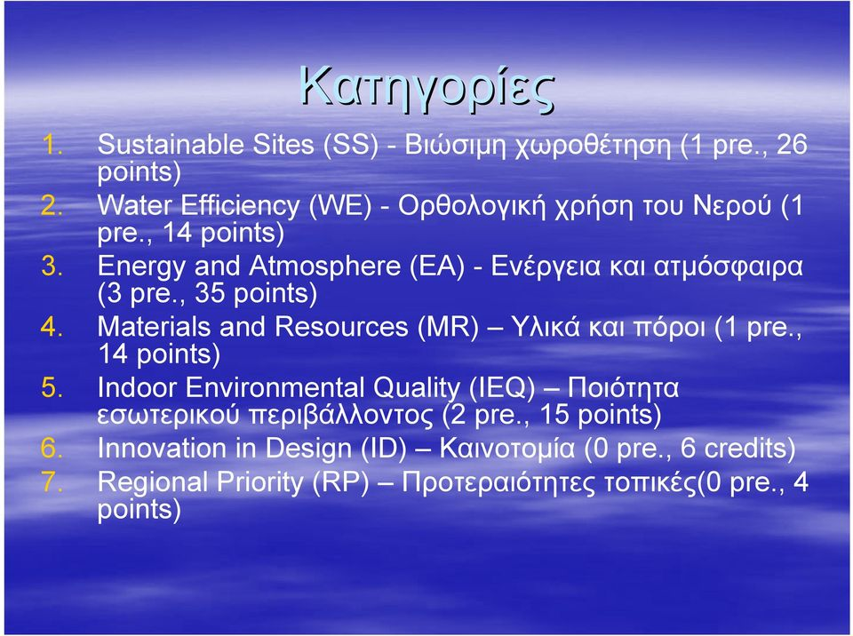 Energy and Atmosphere (ΕΑ) - Ενέργεια και ατμόσφαιρα (3 pre., 35 points) 4. Materials and Resources (MR) Υλικά και πόροι (1 pre.